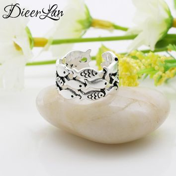 New Fashion Vintage 925 Sterling Silver Multilayer Fish Rings for Women Cool Summer Jewelry sterling-silver-jewelry