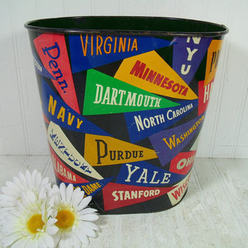 Vintage College Pennants Lithograph Metal Waste Can - Retro Collegiate Multicolor Design Bin - Vintage Colorful Flags Dorm Room Trash Basket