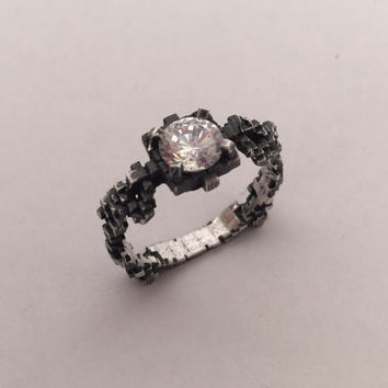 Pixelated Solitaire Ring