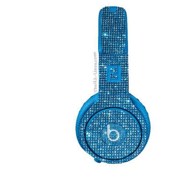 Studio Beats by Dre Custom Headphones Light Blue Swarovski Crystals