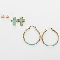 BKE Cross & Hoop Earring Set