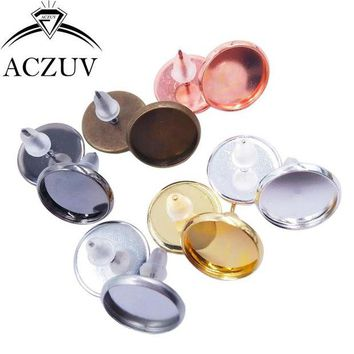 DK7G2 200pcs/Lot Blank Earring Base Cabochon Cameo Base Setting 8mm 10mm 12mm 14mm 16mm Bezel Post Earrings Diy Jewelry Making