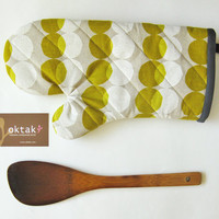 Oven mitt - olive and white circles on natural linen kitchen goods oven mitten modern yellow hostess gift