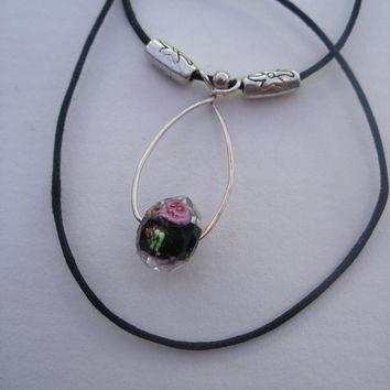 Crystal drop necklace, crystal with rose inside, sterling silver wire and beads, minimalist , handmade, original design