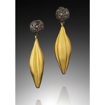 ALL NEW Sapphire and 18k Gold Vermeil Pod Earrings