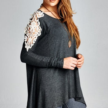 Charcoal Top with Ivory Crochet Sleeves
