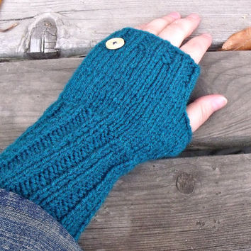Women's Long Fingeress Gloves in Teal Blue with Natural Wood Button, Fingerless Glove, Arm Warmers, Women's Gloves, Winter Accessories