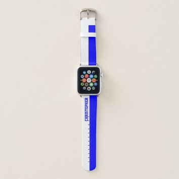 Blue and White Personalized Name Apple Watch Band