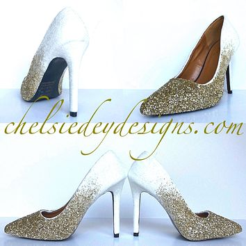 Gold Ombre Glitter High Heels - White Champagne Platform Prom Pumps