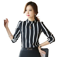 Cute Hollow Out Striped Bodysuit - Black/White