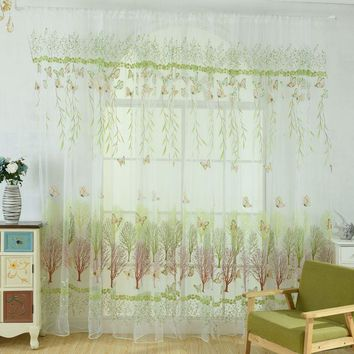 New Fashion 100cm x 270cm Butterfly Print Sheer Window Panel Curtains Room Divider New style For Living Room Bedroom Decoration