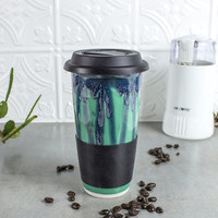 Ceramic Coffee Travel mug, Mint Green BlueRoomPottery with black silicon lid sleeve handmade pottery Kitchen gift for him her