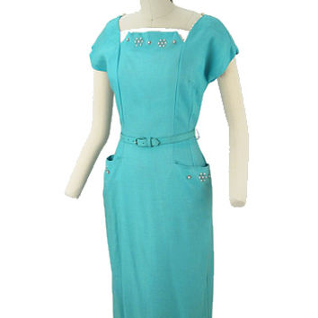 1950s Aqua Wiggle Dress-50s Vintage Summer Dresses