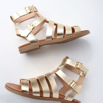 Diego Gold Leather Gladiator Sandals