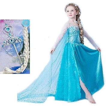 Children's Princess Girl Dress Kids Anna Elsa Costumes Dresses for Girls The Snow Queen Christmas Toddler Girls Clothing