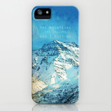 Adventure. The mountains are calling, and I must go. John Muir. iPhone & iPod Case by Guido Montañés