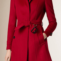 Pleat Detail Wool Cashmere Trench Coat