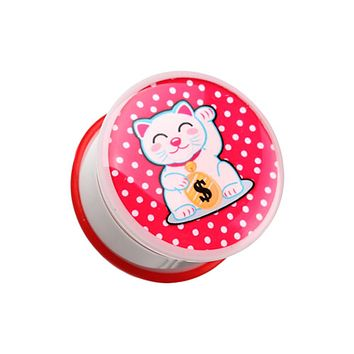 Maneki-Neko Lucky Cat Single Flared Ear Gauge Plug