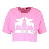 Paris Hilton Diamond Baby Slogan Crop Tee | Boohoo