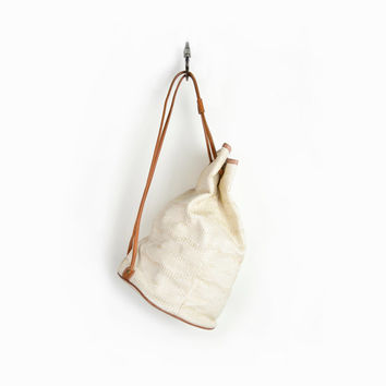 Vintage 90s Esprit Woven Bucket Bag Backpack in Ivory & Faux Leather