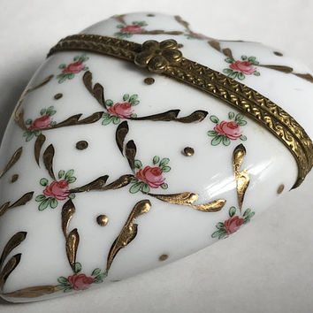 Vintage French Porcelain Heart Box / Hand Painted Gold and Pink Rose Design / Gold Frame and Flower Latch / Collectible Vanity Trinket Box