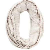Two-Tone Metallic Shimmer Faux Fur Infinity Scarf - Natural