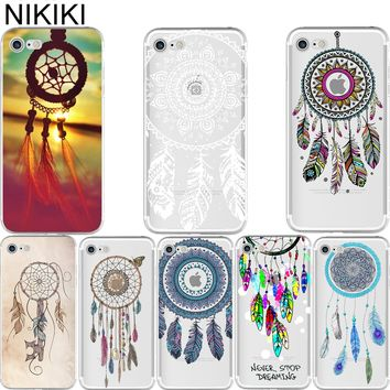 NIKIKI Indian Style Dream Catcher Net with Feathers Soft Silicon Case Cover for IPhone 6 6S 7 8 Plus 5S SE X  Capa Capinha Coque