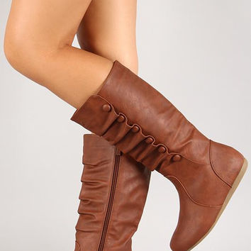 Button Mid Calf Round Toe Boot Size: 8.5, Color: Tan