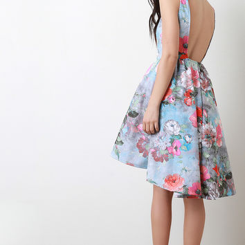 Floral Open Back High Low Hem Dress