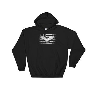 American Flag and Bald Eagle Patriotic Hoodie