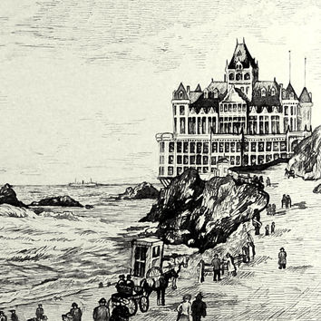 Victorian San Francisco Seaside Resort Pen & Ink