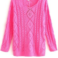 Hollow Diamond Pattern Pullover Knitted Sweater,Cheap in Wendybox.com