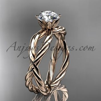14kt rose gold rope engagement ring RP870