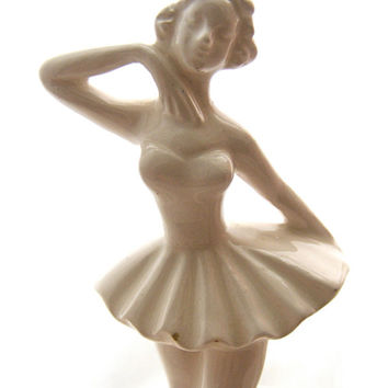 Ceramic Ballerina on a Pedestal Figurine, Ivory color