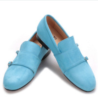 Sky Blue Double Monk Loafers
