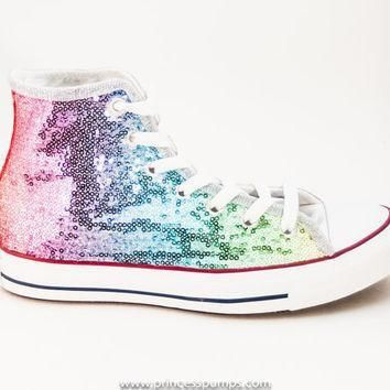 sequin rainbow multi colors custom canvas converse hi top sneakers shoes