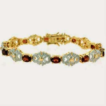 18K Gold over Sterling Silver 5&1/2ct Garnet & Diamond Accent Filigree Bow Bracelet