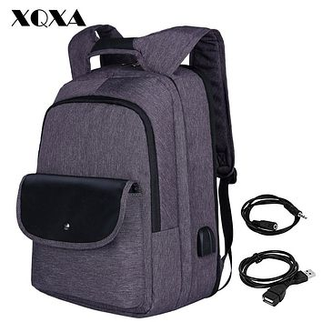 USB Backpack Men Laptop Backpack Patchwork Women Backpack Bag Water-Resistant Oxford School Bag for Teenagers
