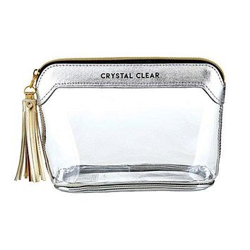 Crystal Clear Clear Travel Pouch in Silver
