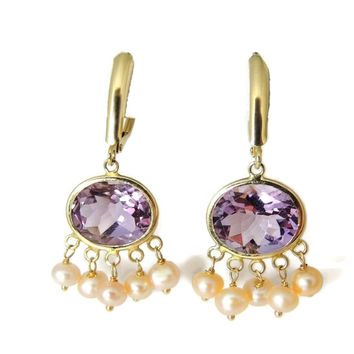 Amethyst Pearl 14k Gold Dangle Earrings 8 ct