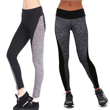 New Women Fashion Black And Gray Paneled Plus Slimming Pants Leggings For Running/Yoga/Sport HNK [8833450828]