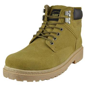 Mens Boots Lace Up Eyelet Suede Leather Hiking Shoes Tan SZ