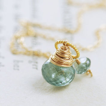 March Birthstone Jewelry Moss Aquamarine Necklace Wrapped in 14k Gold Fill, Teal Green Gemstone Pendant