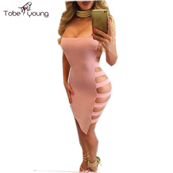2016 Women's Sexy Hollow Cut Out Side Bandage Bodycon Bandeau Summer Dress Eve Night Club Party Dresses Vestido De Festa