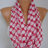 ON SALE - Polka dots - Infinity Scarf Shawl Circle Scarf Loop Scarf  Gift -fatwoman