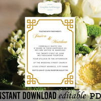 Editable PDF Golden Vintage Calligraphy Wedding Invitation Template Printable - Editable PDF Text (Fonts, Colors, Size)