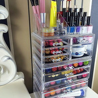 Acrylic 10 Drawer +16 Grid Makeup Organizer Storage Unit