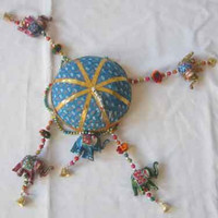 Indian hand made parasol 5 elephant wall hangings door hanging latkan home decorative ethnic art decoration