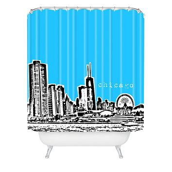 Bird Ave Chicago Blue Shower Curtain