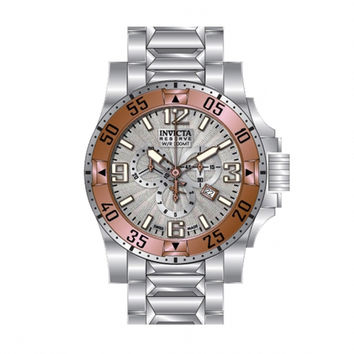 Invicta 10887 Men's Reserve Excursion Rose Gold Tone Bezel Silver Textured Dial Chronograph Stainless Steel Dive Watch